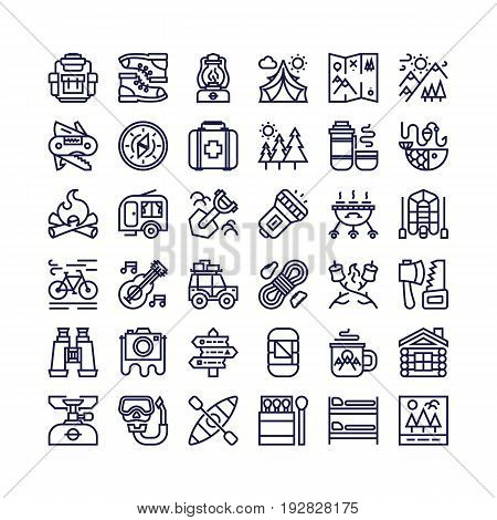 Camping and hiking icons set line style consisting of camp and travel equipment for tourist symbol, explore emblem, hiking sticker, expedition label, travel badge, climbing, poster, banner.