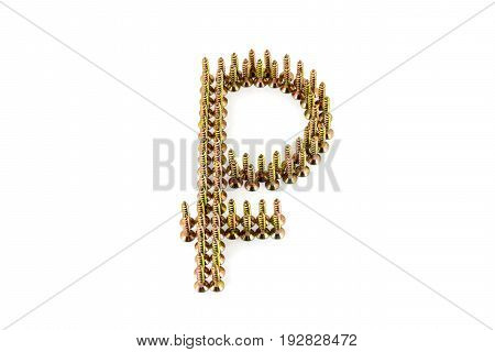 Ruble sing laid out on white with golden Galvanized self-tappings isolated on white background