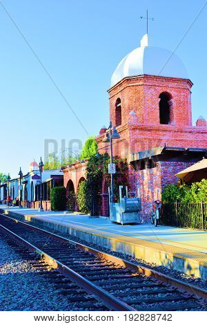 Historic Train Depot which is a landmark brick building in the center of town taken in San Juan Capistrano, CA