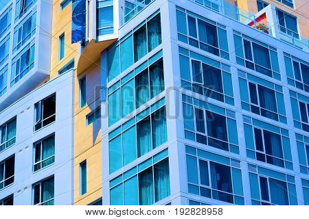 Contemporary style highrise building taken in an urban city neighborhood