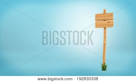 3d rendering of a wooden post with two square boards for information.Directions and travel. Information and advertisement. Signs and billboards.