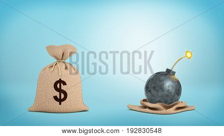 3d rendering of a brown hessian money bag with a dollar sign standing close to a open bag revealing a lit bomb. Banking risks. Marketing pitfalls. Win or lose decisions.