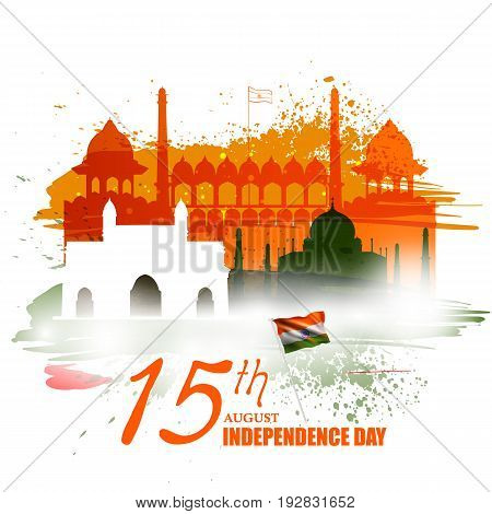 easy to edit vector illustration of Monument and Landmark of India on Indian Independence Day celebration background