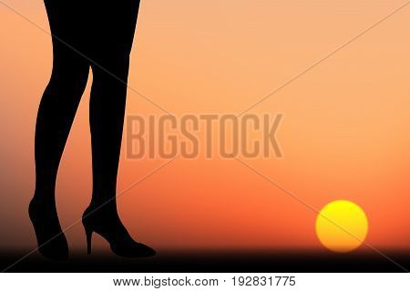 vector twilight illustration silhouette business woman walk to the sun with challenge for progress