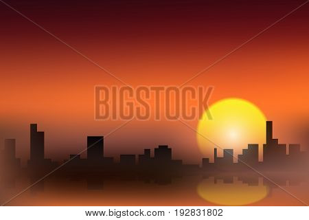 vector gold city silhouette, landscape twilight sunset illustration simplicity background