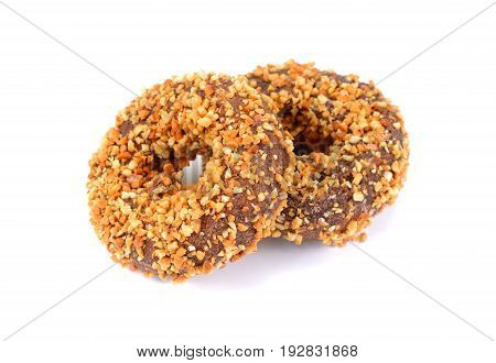 Almond Chocolate Donuts chocolate nuts doughnut on white