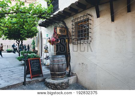 BARCELONA, SPAIN - MAY 2017: Entrance to traditional Spanish tavern in Spanish village (Poble Espanyol).