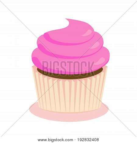 Chocolate cupcake with pink frosting flat icon