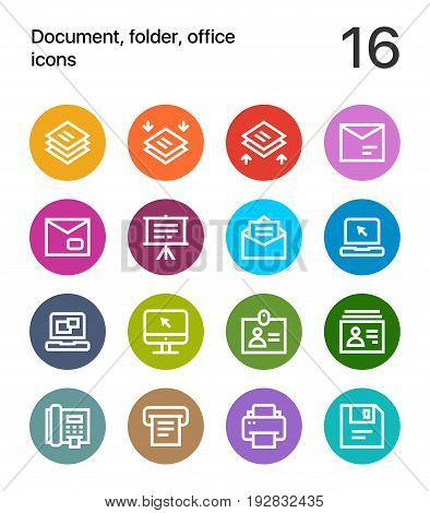 Colorful Document, folder, office icons for web and mobile design pack 4