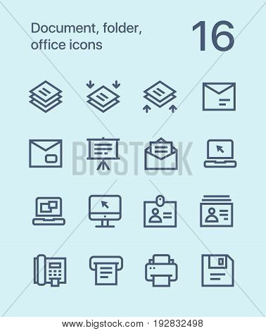 Outline Document, folder, office icons for web and mobile design pack 4