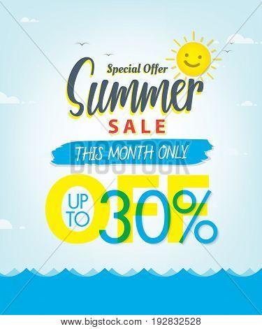 Summer Sale Set V.3 30 Percent Blue Heading Design For Banner Or Poster. Sale And Discounts Concept.