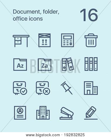 Outline Document, folder, office icons for web and mobile design pack 3