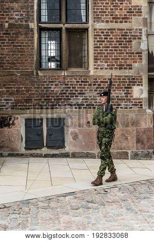 Copenhagen Denmark - August 12 2016: Soldier standing guard at the Rosemborg Castle gate. It is a renaissance castle located in Copenhagen Denmark.