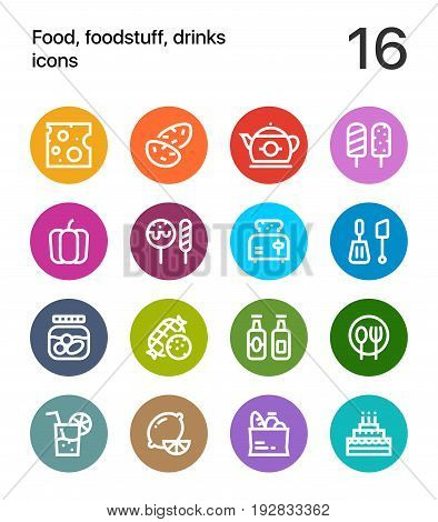 Colorful Food, foodstuff, drinks icons for web and mobile design pack 2 poster