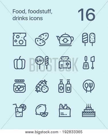 Outline Food, foodstuff, drinks icons for web and mobile design pack 2