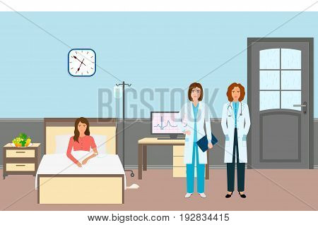 Medical doctor and nurse with a female patient. Medicine workers standing near sick woman in hospital ward. Medicine care concept. Detailed medic characters in clinic interior. Vector illustration.