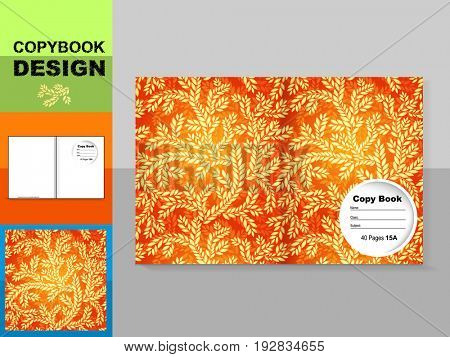 Template cover of a copybook with an trendy design: plant pattern.