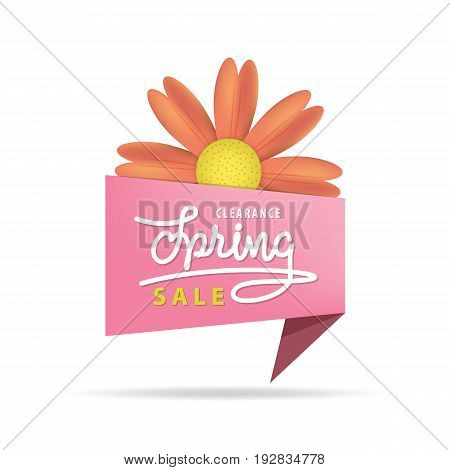 Tag Set Spring Sale Pink Heading Design For Banner Or Poster. Sale And Discounts Concept. Vector Ill