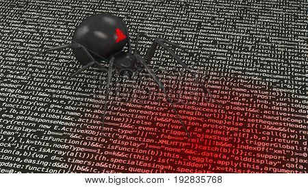 Black spider with hacker symbol crawling over computer code infecting it with a virus cybersecurity concept 3D illustration