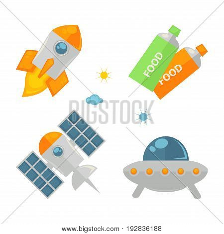 Spaceships collection and food in tubes colorful poster isolated on white. Flying in cosmos rockets and special machine for discovering cosmos and other planets. Space necessary equipment set