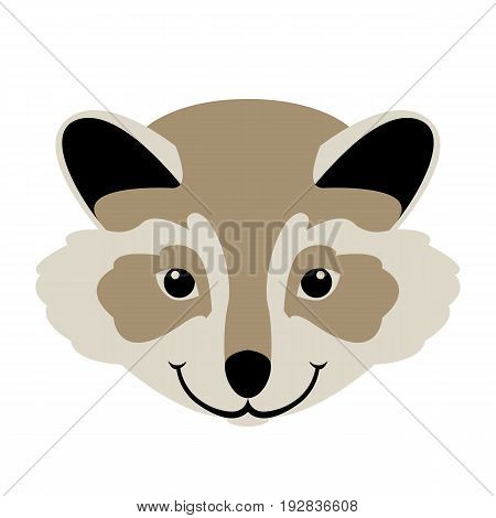 raccoon  cartoon  face  vector illustration style Flat  side front