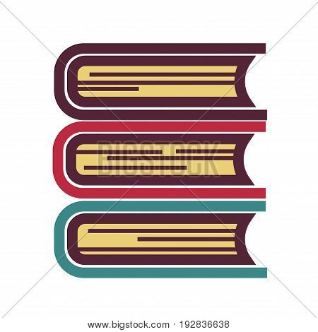 Cartoon thick books in colorful hardcovers formed in neat pile isolated flat vector illustration on white background. Collection of literature works, scientific information and basic knowledge.