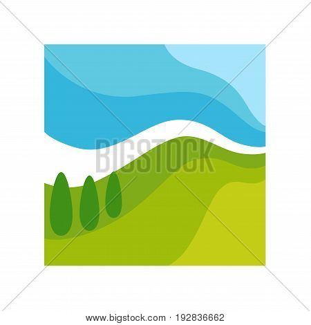 Wild abstract landscape in square framework isolated vector illustration on white background. Blue gradient sky, field covered with green grass, tall cone trees and thick white horizon line.