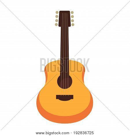 Wooden acoustic guitar flat vector illustration. Stringed instrument for creation songs and melodies isolated on white background. Portable instrument for musical performance at party or concert.