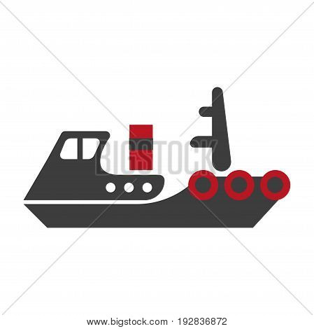 Minimalistic flat schematic ship composed of separate black and red parts isolated vector illustration on white background. Cartoon old-fashioned model of steamer that transports heavy cargo.