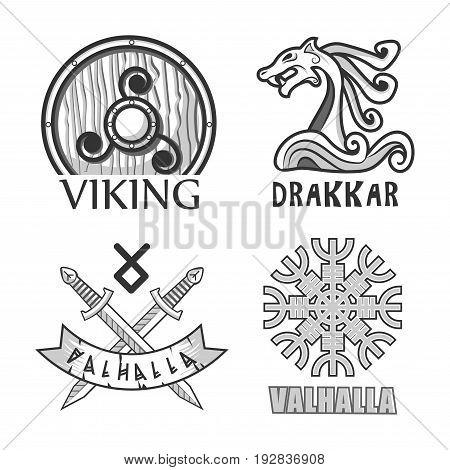 Vikings wooden shield, drakkar stern decoration and valhalla symbols with crossed swords and authentic pattern in form of snowflake isolated monochrome vector illustrations set on white background.