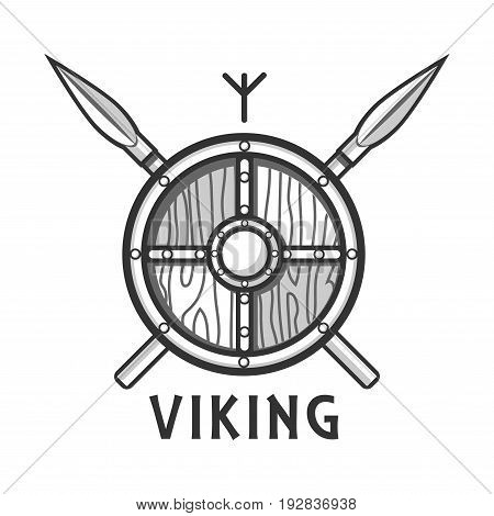 Vikings ancient wooden shield with metal parts and two sharp crossed spears, small Scandinavian rune above and sign underneath isolated monochrome flat vector illustration on white background.