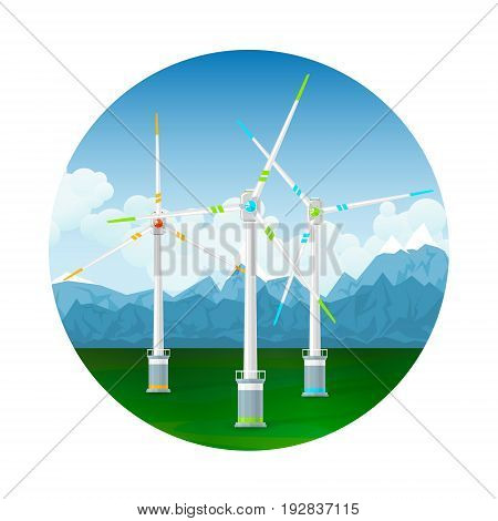 Icon Horizontal Axis Wind Turbines on a Background of Mountains Modern Low-Wind Turbine Vector Illustration
