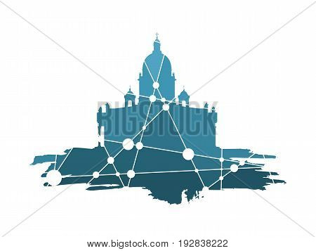 Silhouette of the Saint Isaac's Cathedral in Saint Petersburg Russia. Modern minimalist icon on grunge brush. Connected lines with dots.