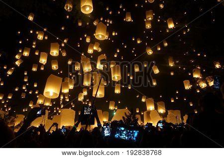 Floating lanterns. Loi Krathong and Yi Peng a traditional festival, Chiang Mai, Thailand
