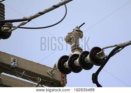 Damage Lightning Arrester on High Voltage Electrical Pole