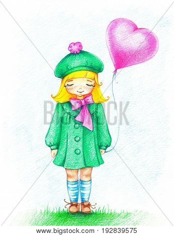 hand drawn picture of young girl in green dress with pink balloon standing on grass by the color pencils