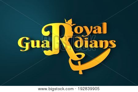 Royal crown logo. Business golden emblem with R letter and face silhouette. 3D rendering. Royal guardians text