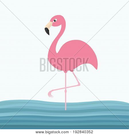 Pink flamingo standing on one leg. Water sea wave. Exotic tropical bird. Zoo animal collection. Cute cartoon character. Decoration element. Flat design. White blue background. Vector