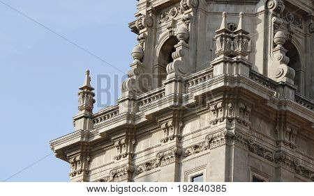 Spanish architectural elements at one of the MNAC towers in Barcelona Spain July 2016