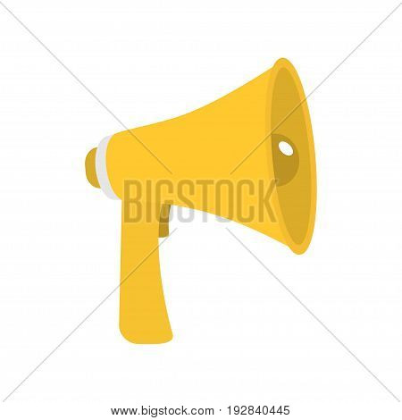 Megaphone speaker loudspeaker icon. Announcement sign symbol Flat design. Yellow color White background. Isolated. Vector illustration
