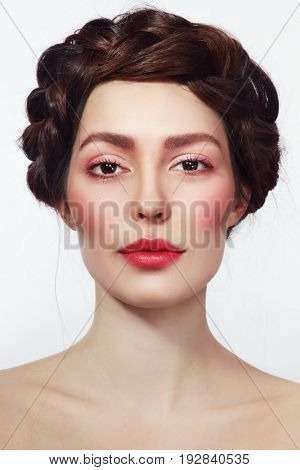 Portrait of young beautiful woman with fresh makeup
