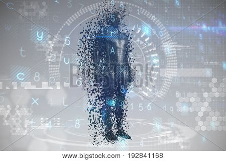 Full length of digital black pixelated 3d male against digital generated image of dial
