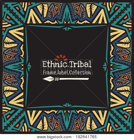 Abstract doodle style frame.Ethnic tribal invitation template.