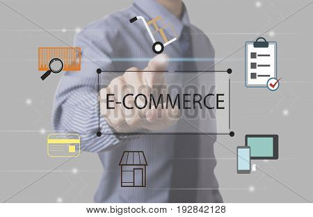 business hand point E-commerce text on homepage web page with icon. business social media advertisement connection concept.