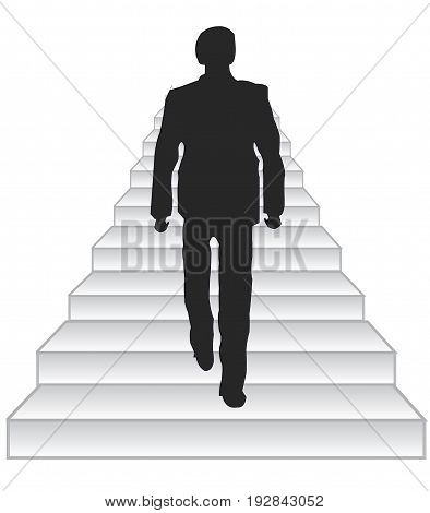 Silhouette men rising on stairway upwards.Vector illustration