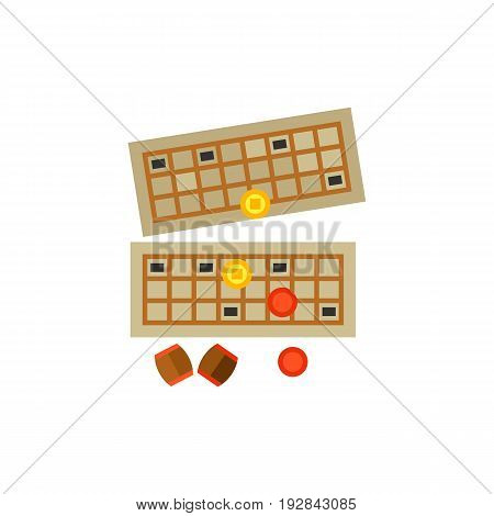 Icon of bingo game. Winning, card, barrels. Board games concept. Can be used for topics like leisure, entertainment or success