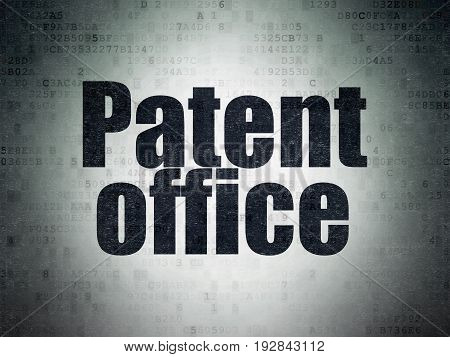Law concept: Painted black word Patent Office on Digital Data Paper background