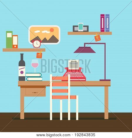 Cute Copywriter workspace vector for your ideas