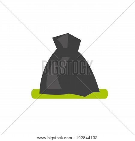 Vector icon of garbage bag. Volunteering, trash pickup, waste management. Garbage collectors concept. Can be used for topics like ecology, sanitation, urban services
