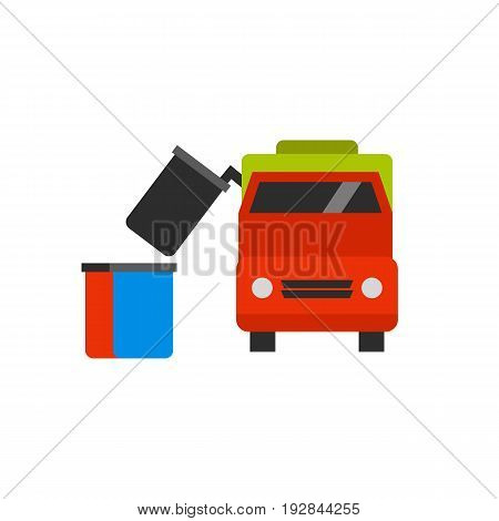 Vector icon of garbage truck removing dumpster. Public utilities, trash pickup, waste management. Garbage collectors concept. Can be used for topics like recycling, transportation, urban services